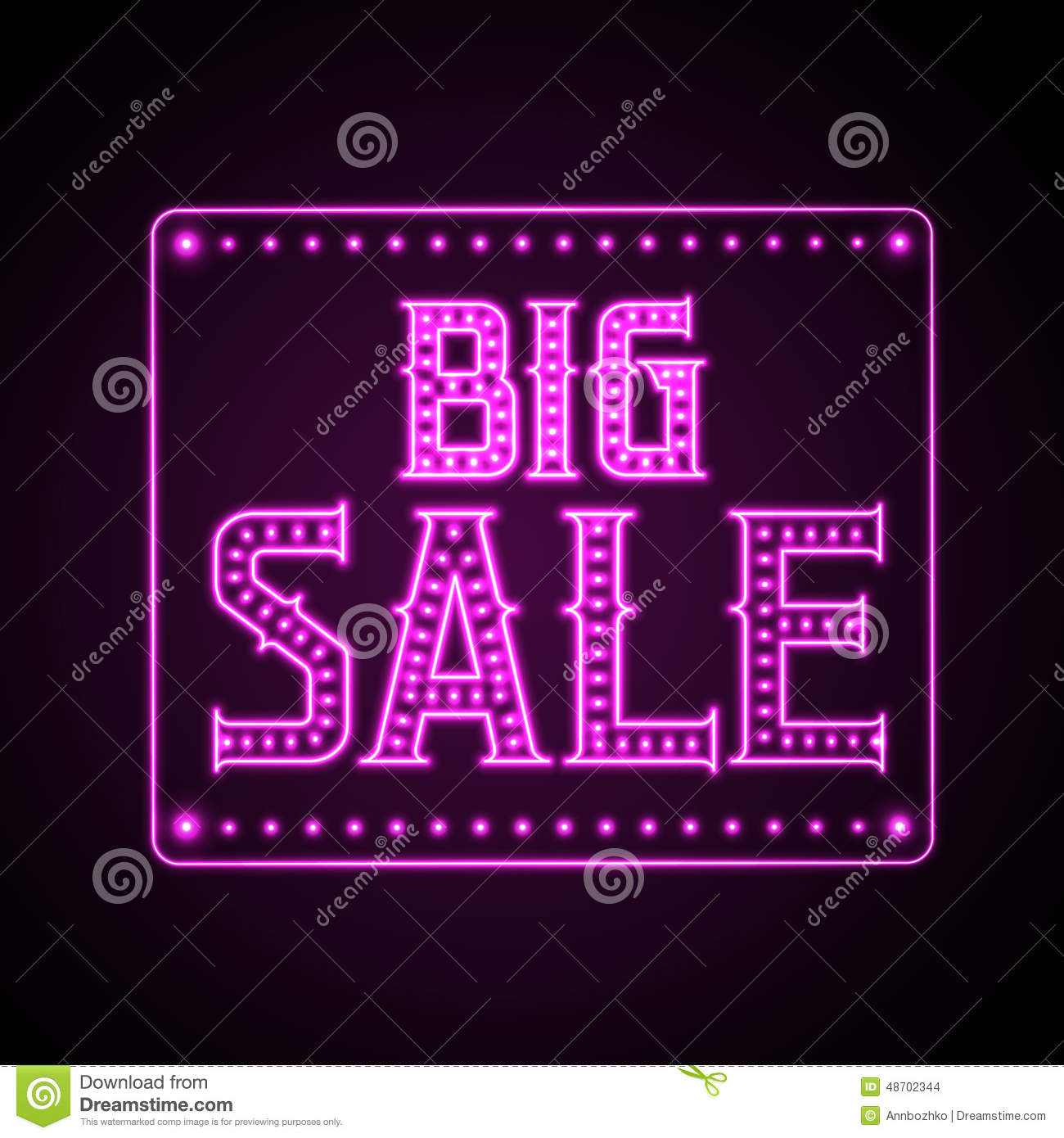 neon sale sign big background night less vector