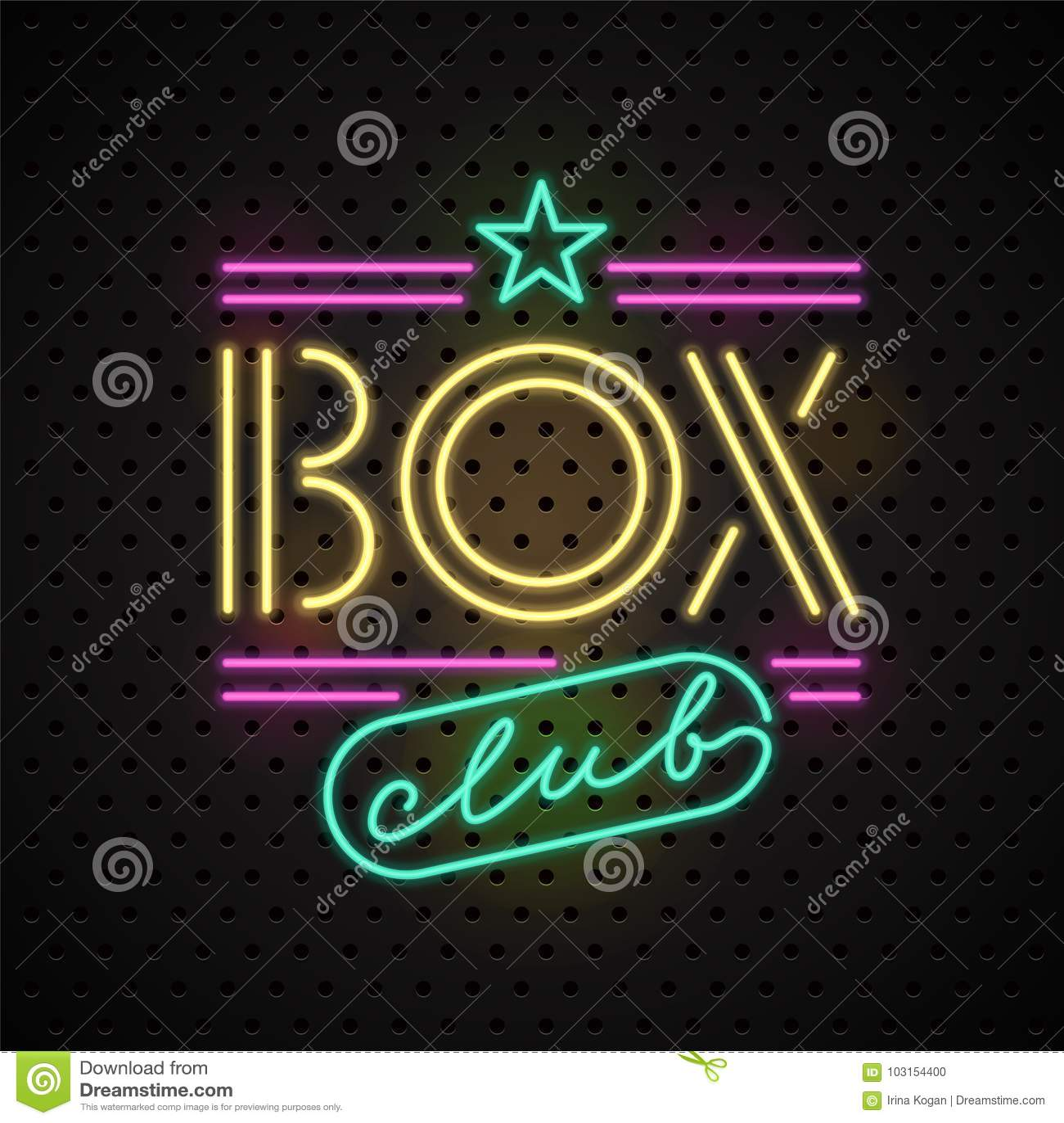 Neon sign for boxing club vector logo icon stock vector neon sign for boxing club vector logo icon buycottarizona Choice Image
