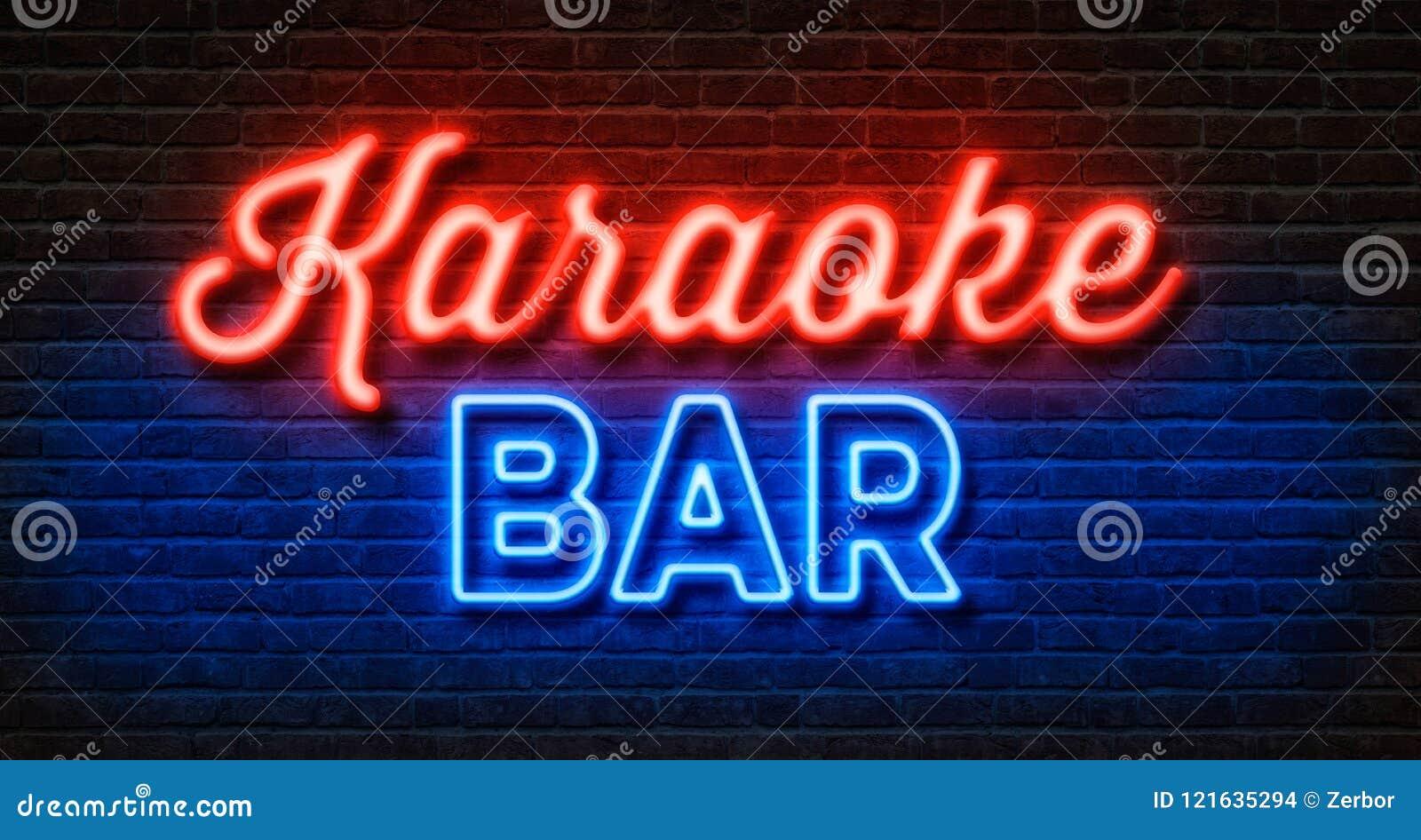 Neon Sign On A Brick Wall - Karaoke Bar Stock Illustration