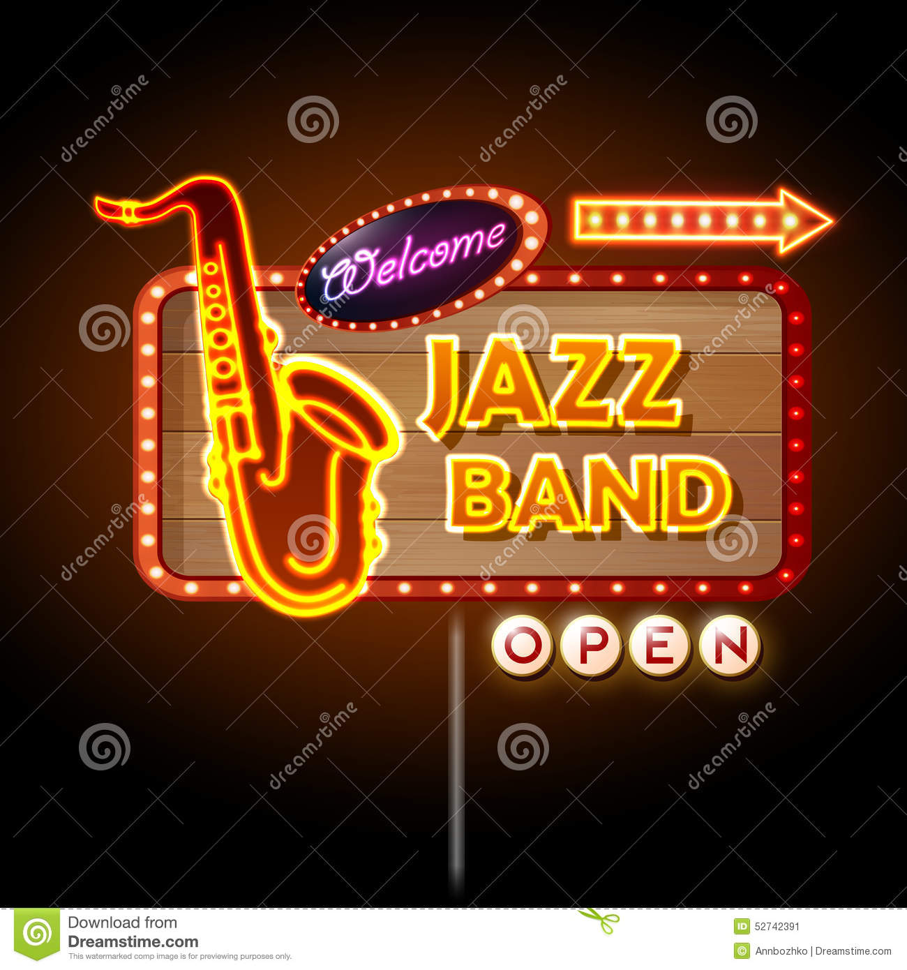 Neon Sign Jazz Band Stock Vector Image 52742391