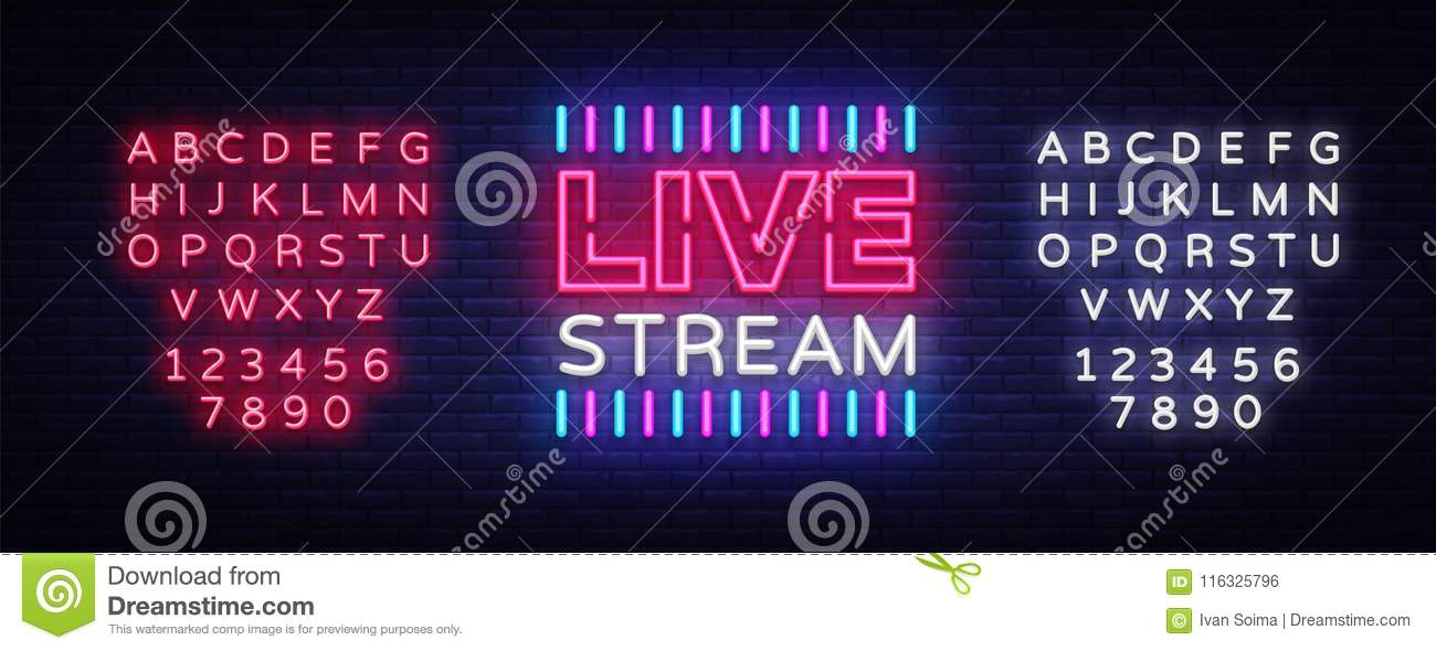 Neon sign live stream design element. Light banner, neon signboard for news and TV shows, as well as live broadcasts