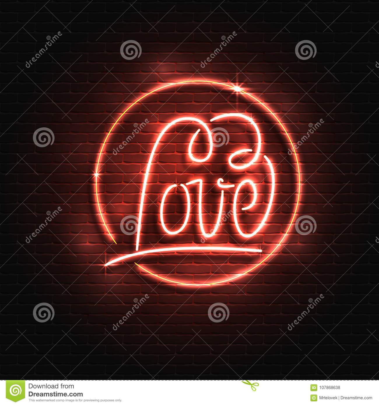 Neon sign love the word love on a brick wall background element neon sign love the word love on a brick wall background element for the st valentines day design can be used for isolated card buycottarizona Choice Image