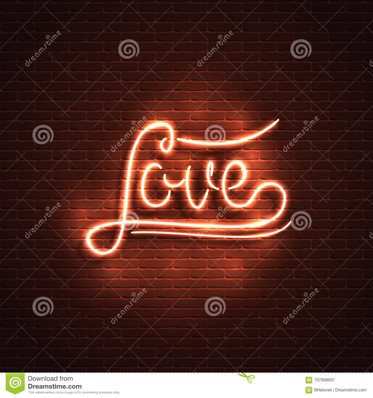 Neon sign love the word love on a brick wall background element neon sign love the word love on a brick wall background element for the st valentines day design can be used for icon light buycottarizona Choice Image
