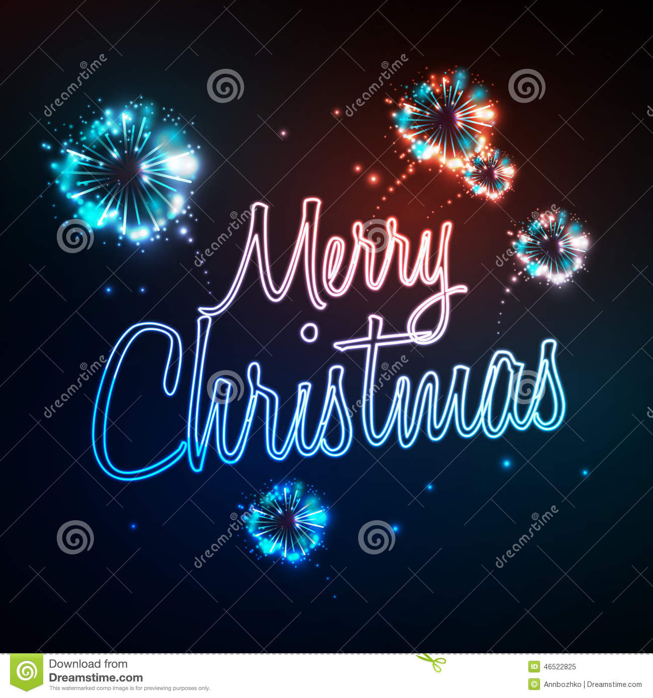Neon Sign Merry Christmas Stock Vector Image Of Event