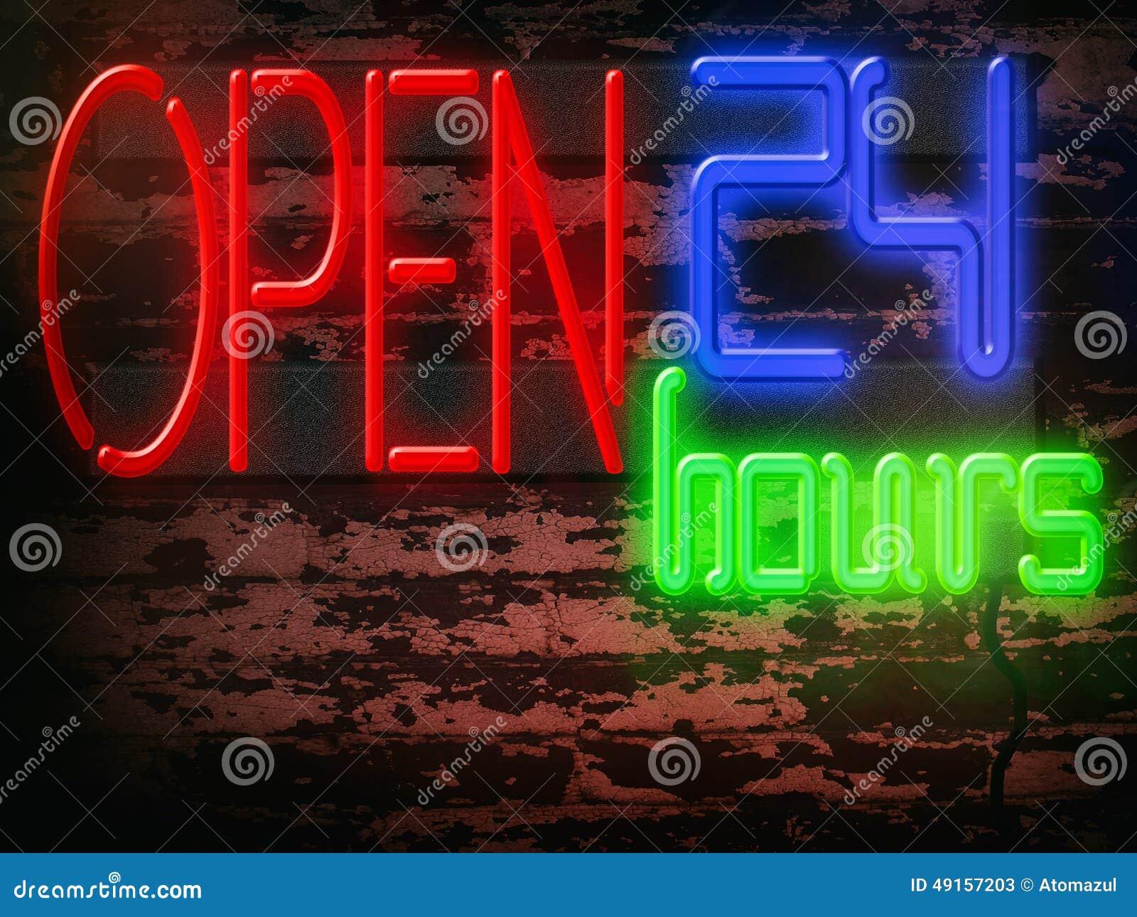 Neon Sign Open 24 Hours