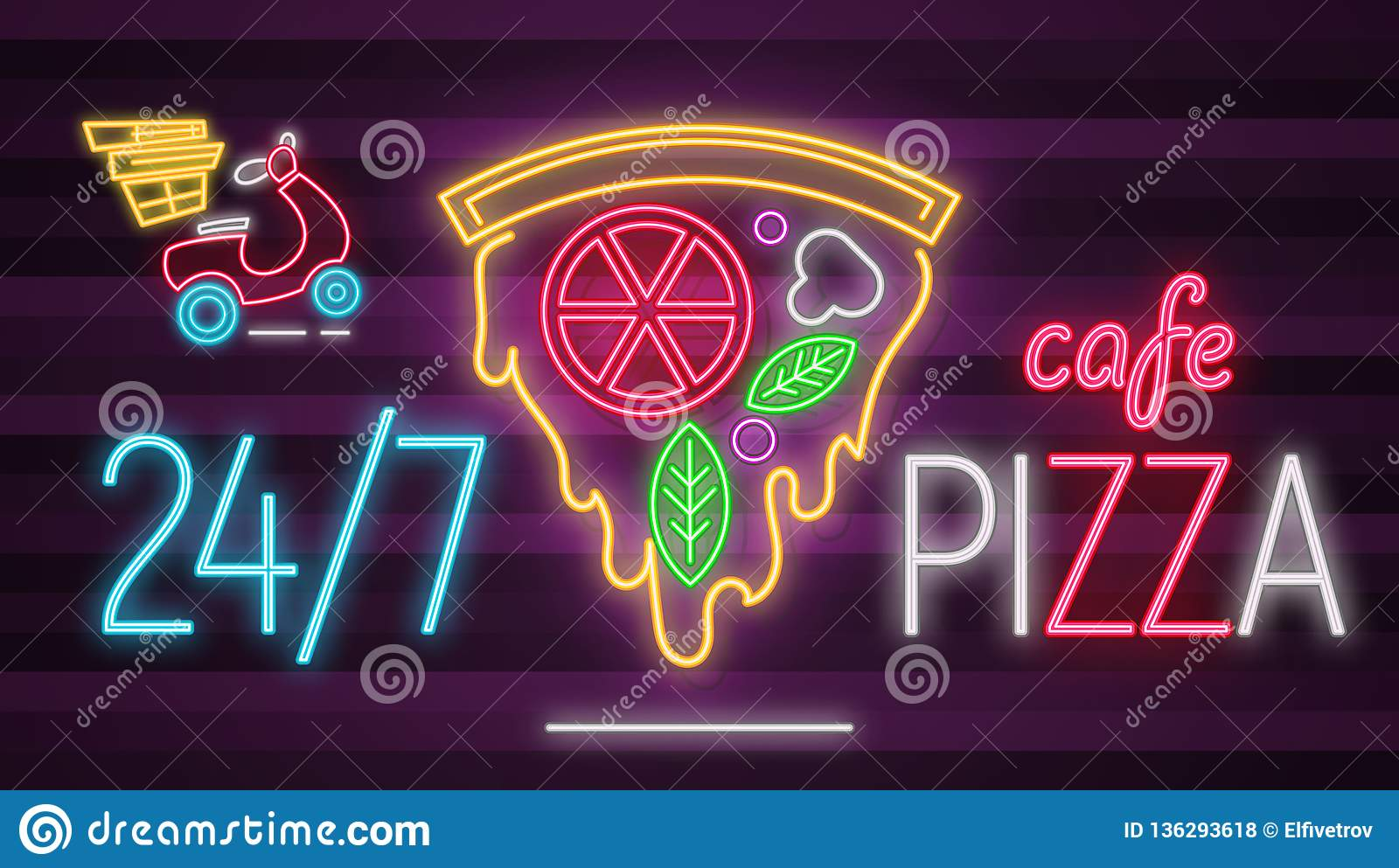 Neon Sign Pizza Cafe stock vector  Illustration of city