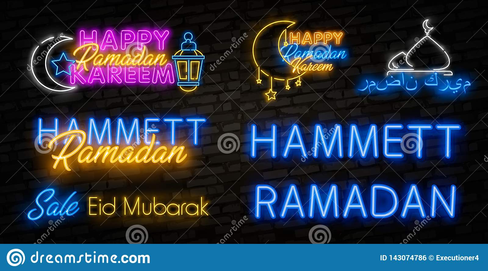 Neon sign Ramadan Kareem with lettering and crescent moon against a brick wall background. Arabic inscription means ``Ramadan