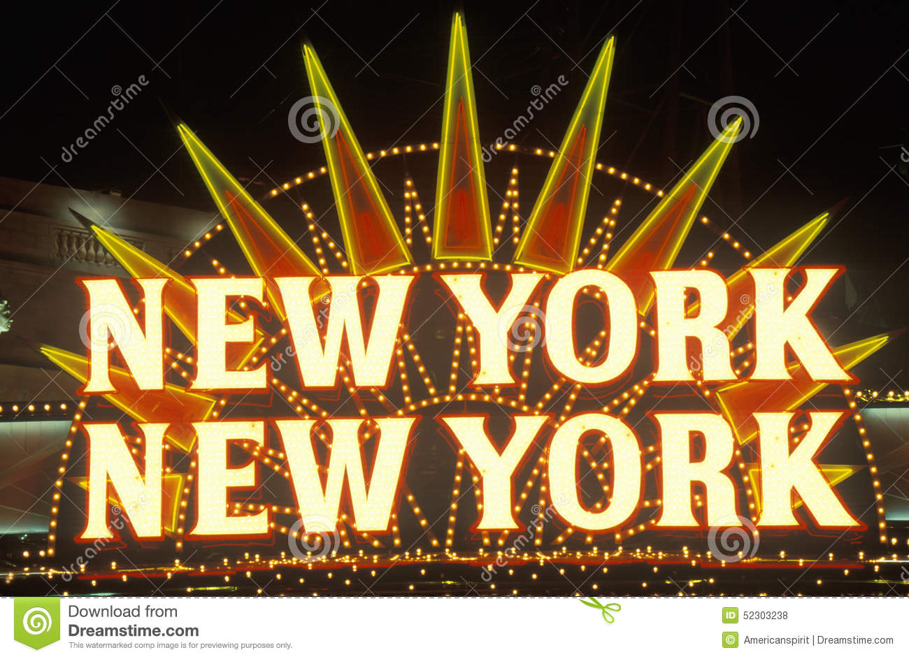 A neon sign that reads �New York, New York� at the hotel and casino in Las Vegas, Nevada