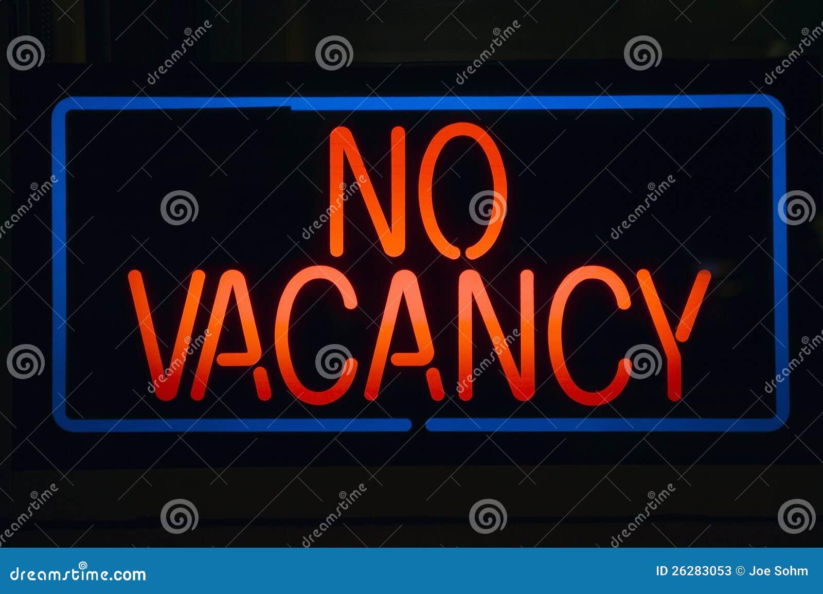 Neon sign reads No Vacancy