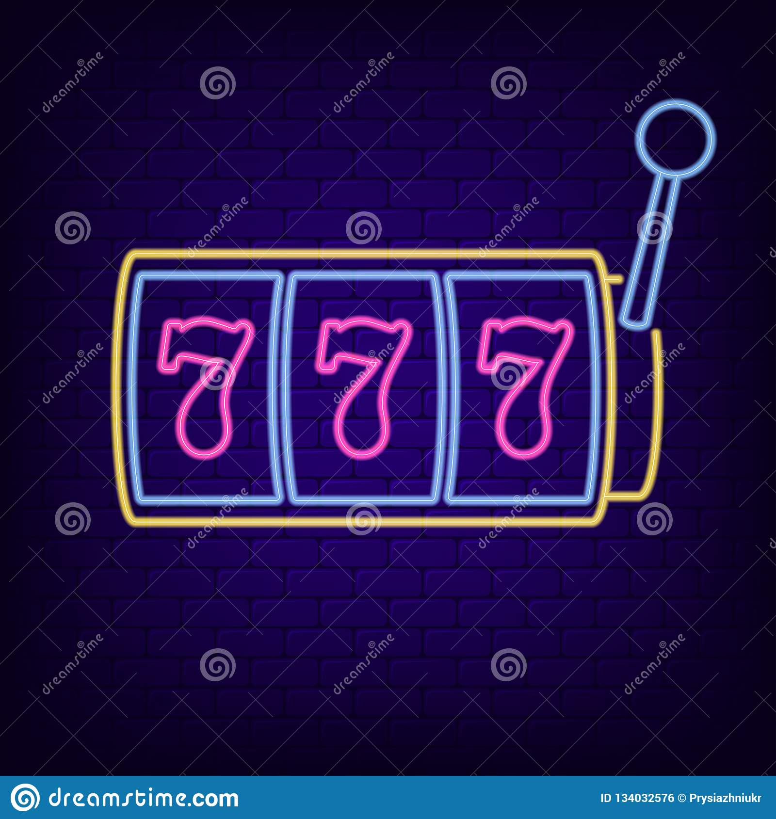 Neon sign of slot machine with lucky sevens jackpot. Casino gaming machine - night light neon signboard. Vector.
