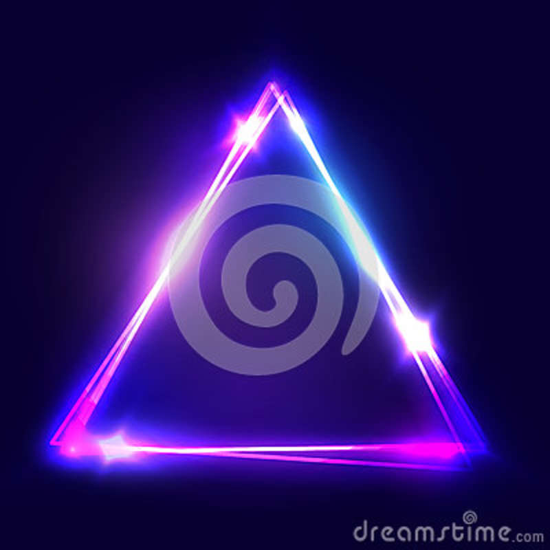 Neon sign. Triangle background. Glowing electric abstract frame on dark backdrop. Light banner with glow. Bright vector