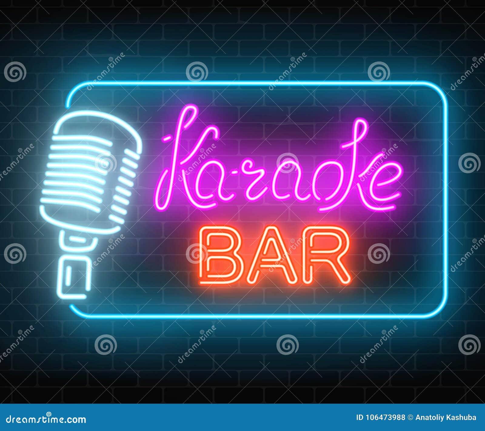 Neon Signboard Of Karaoke Music Bar  Glowing Street Sign Of