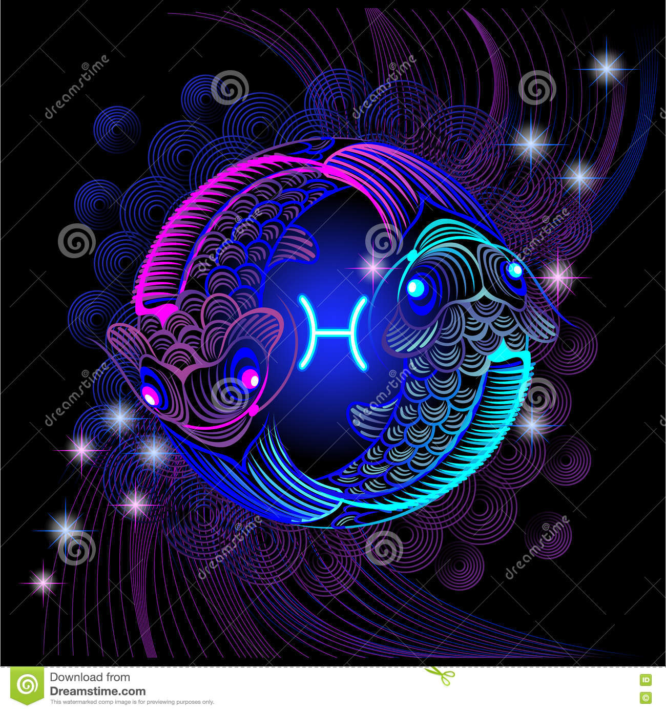 Neon Signs Of The Zodiac Pisces Stock Illustration Illustration