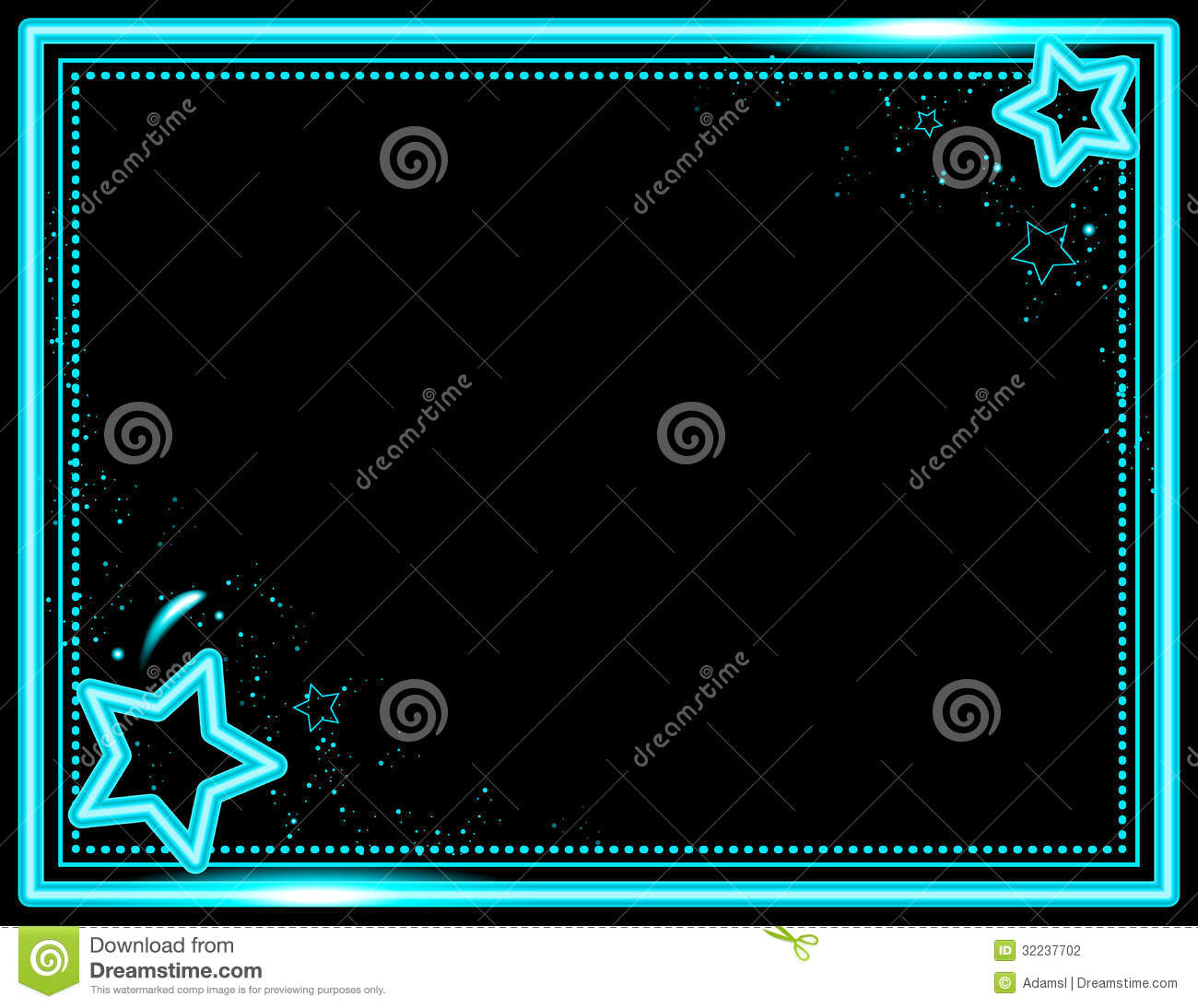 Stars and sparkle decorate this neon colored frame background.