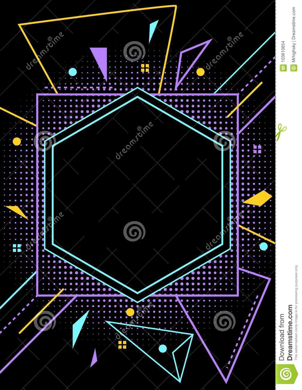 neon style blank party flyer layout stock vector illustration of
