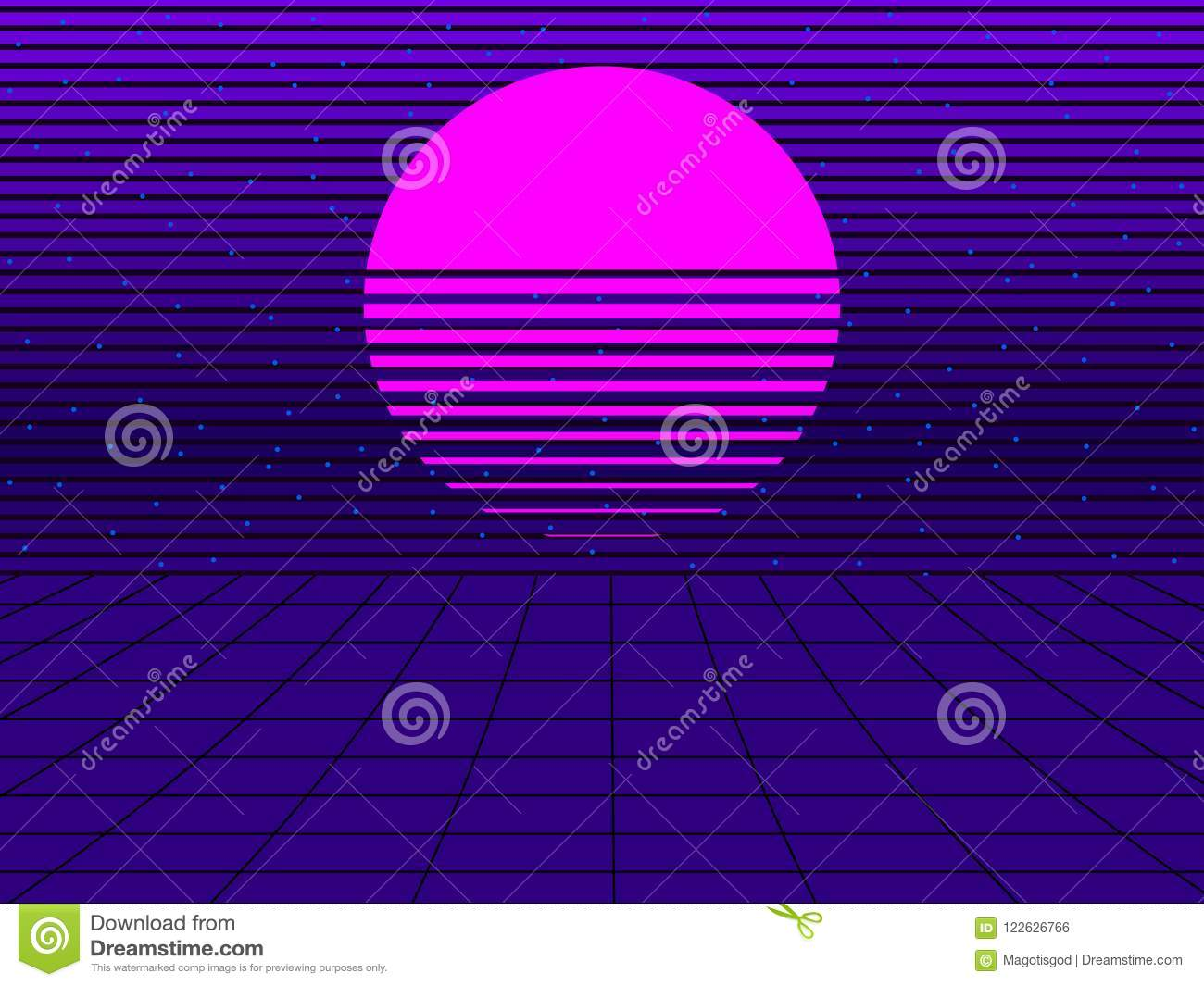 Neon Sunset In The Style Of 80s  Synthwave Retro Futuristic