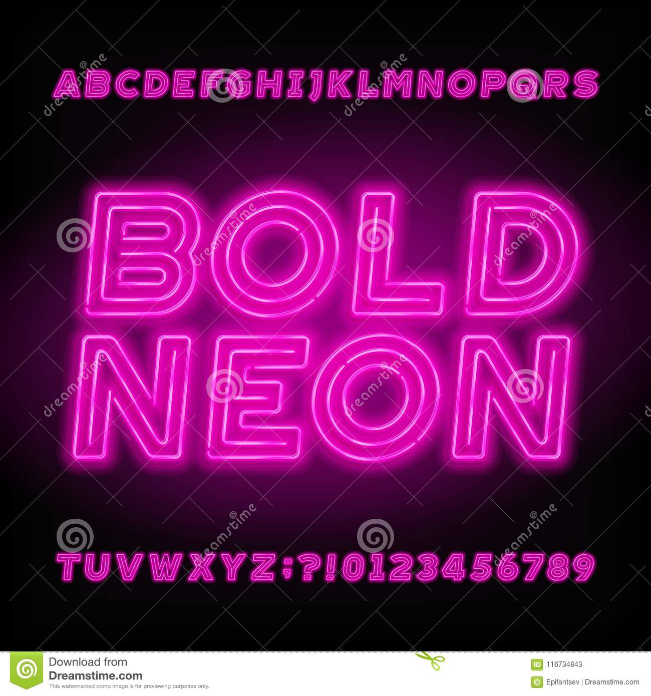 Neon Tube Alphabet Font. Neon Color Bold Letters, Numbers And ...