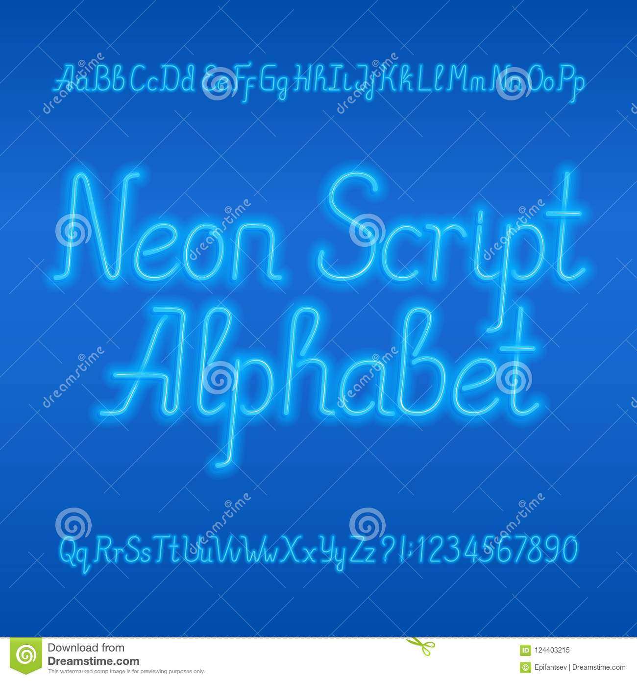 Neon Tube Alphabet Font Neon Color Lowercase And Uppercase Letters