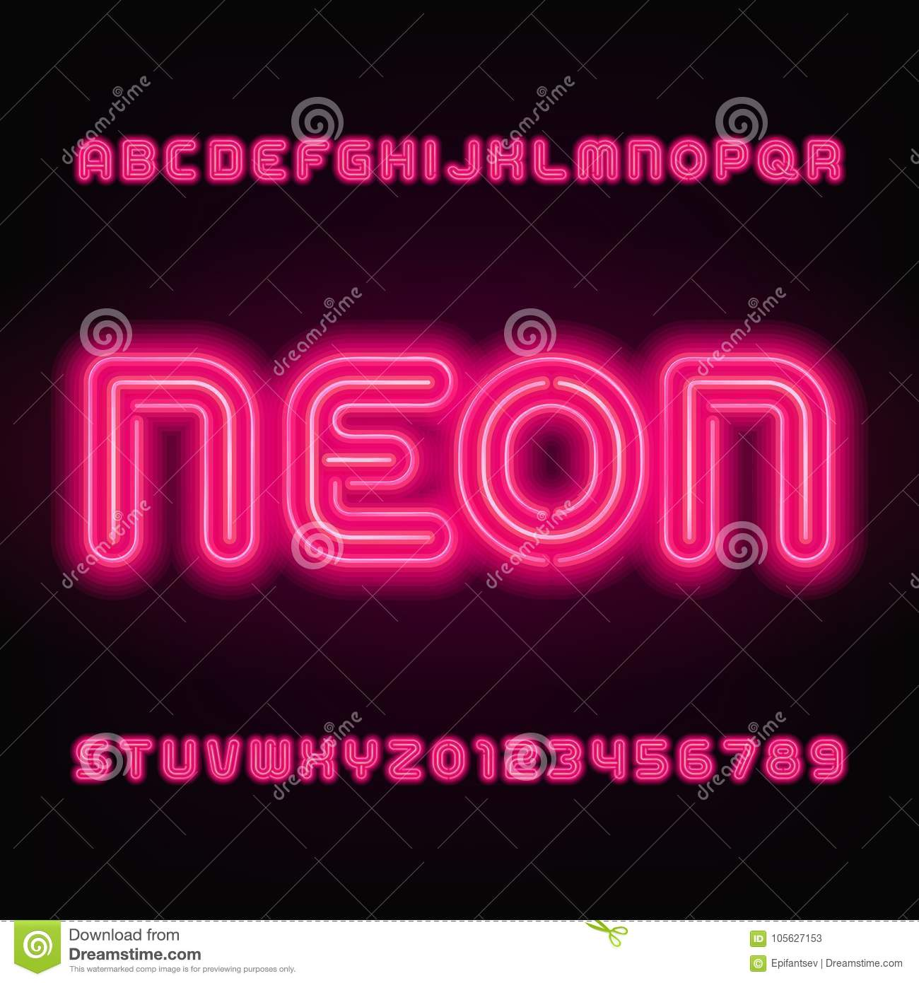 Neon Tube Alphabet Font. Red Color Letters And Numbers. Stock Vector ...