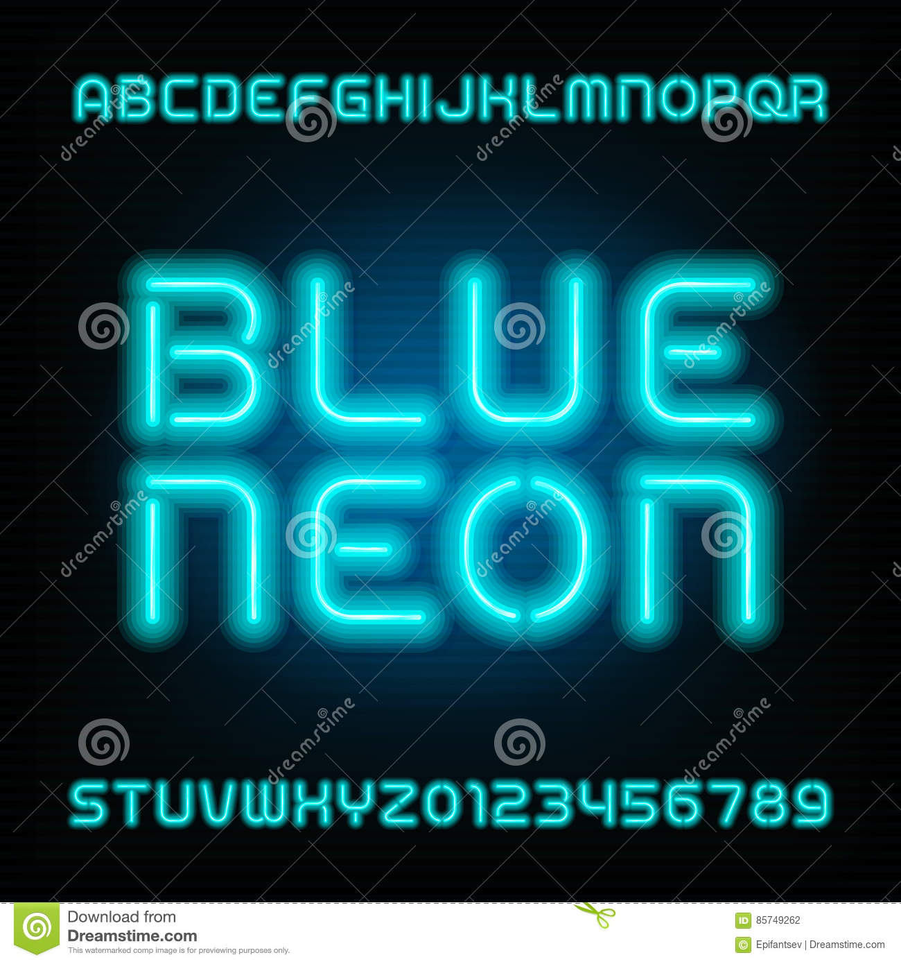 Neon Tube Alphabet Font  Type Letters And Numbers  Blue