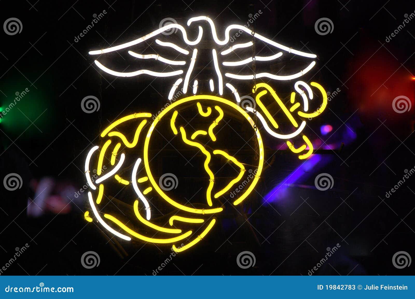 Neon Us Marine Corps Symbol Stock Image Image Of Soldiers Marines