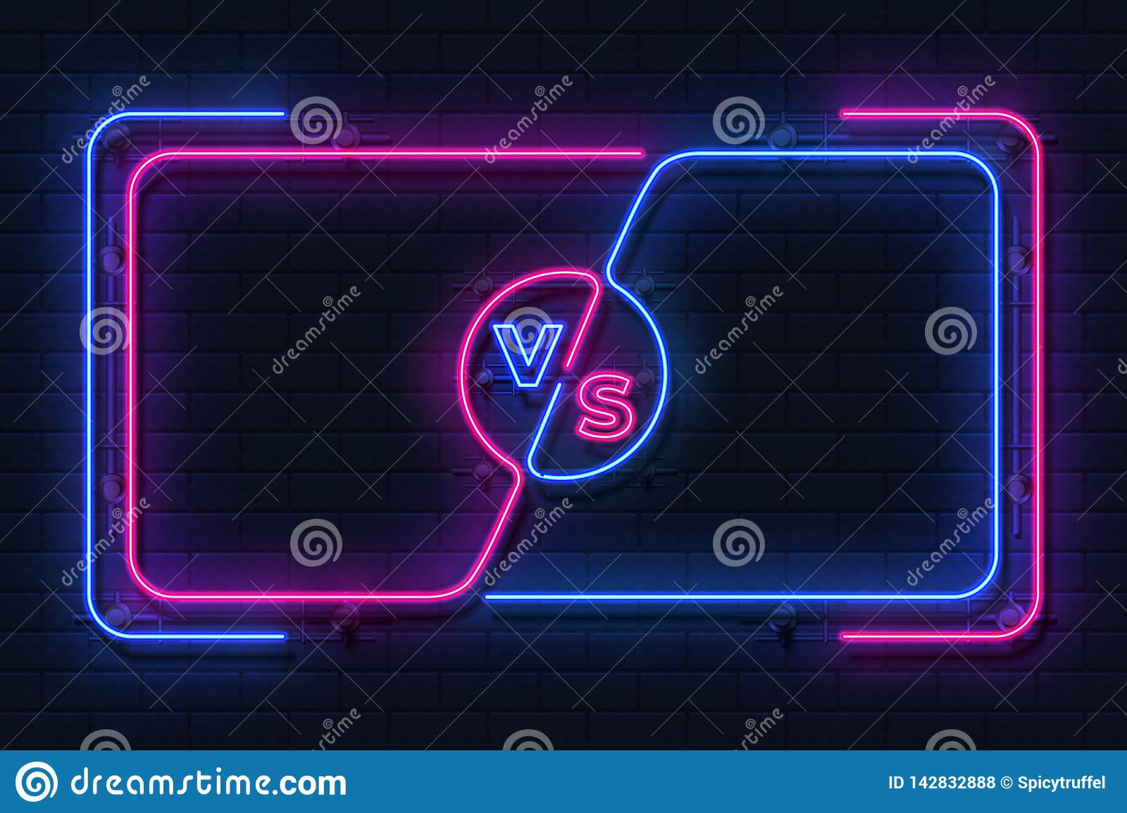 Neon versus banner. Game battle glowing frame, boxing match screen, sport competition outline concept. Vector versus