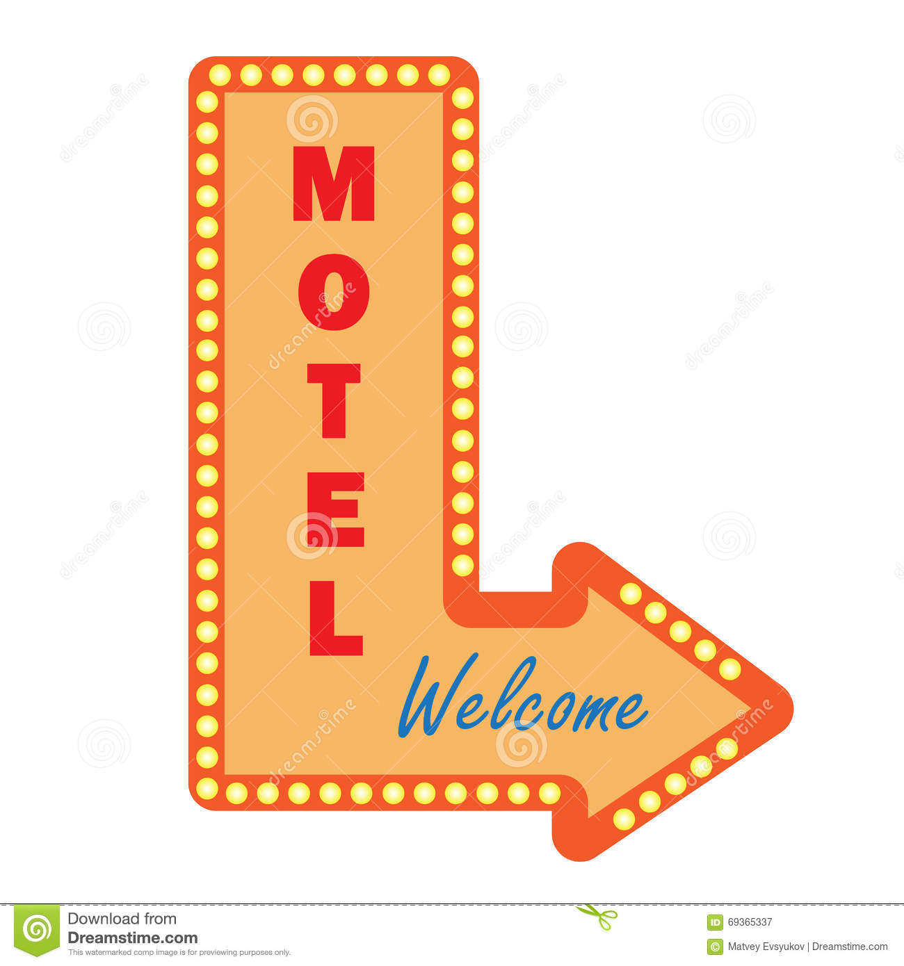 Neon Vintage Motel Sign Light Bulbs. Welcome Sign Stock