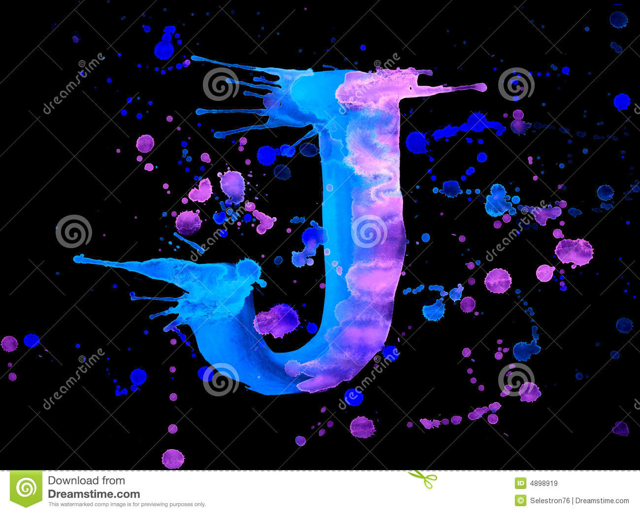 Neon Watercolor Paint  Letter J Royalty Free Stock Images
