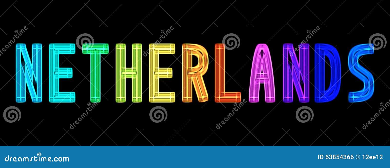 neon word netherlands in rainbow colors stock illustration