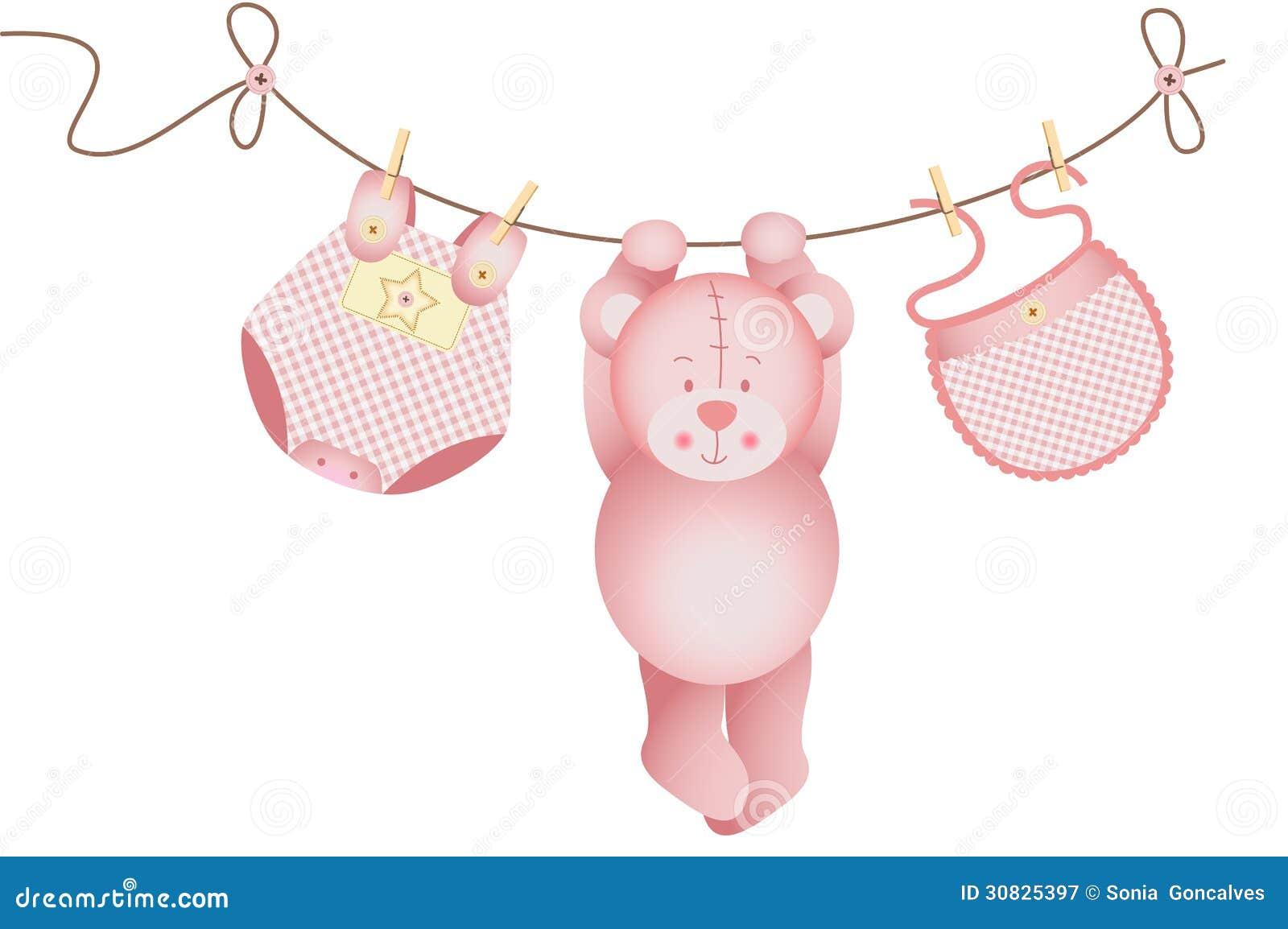 Neonata dell orsacchiotto che appende su una corda da bucato