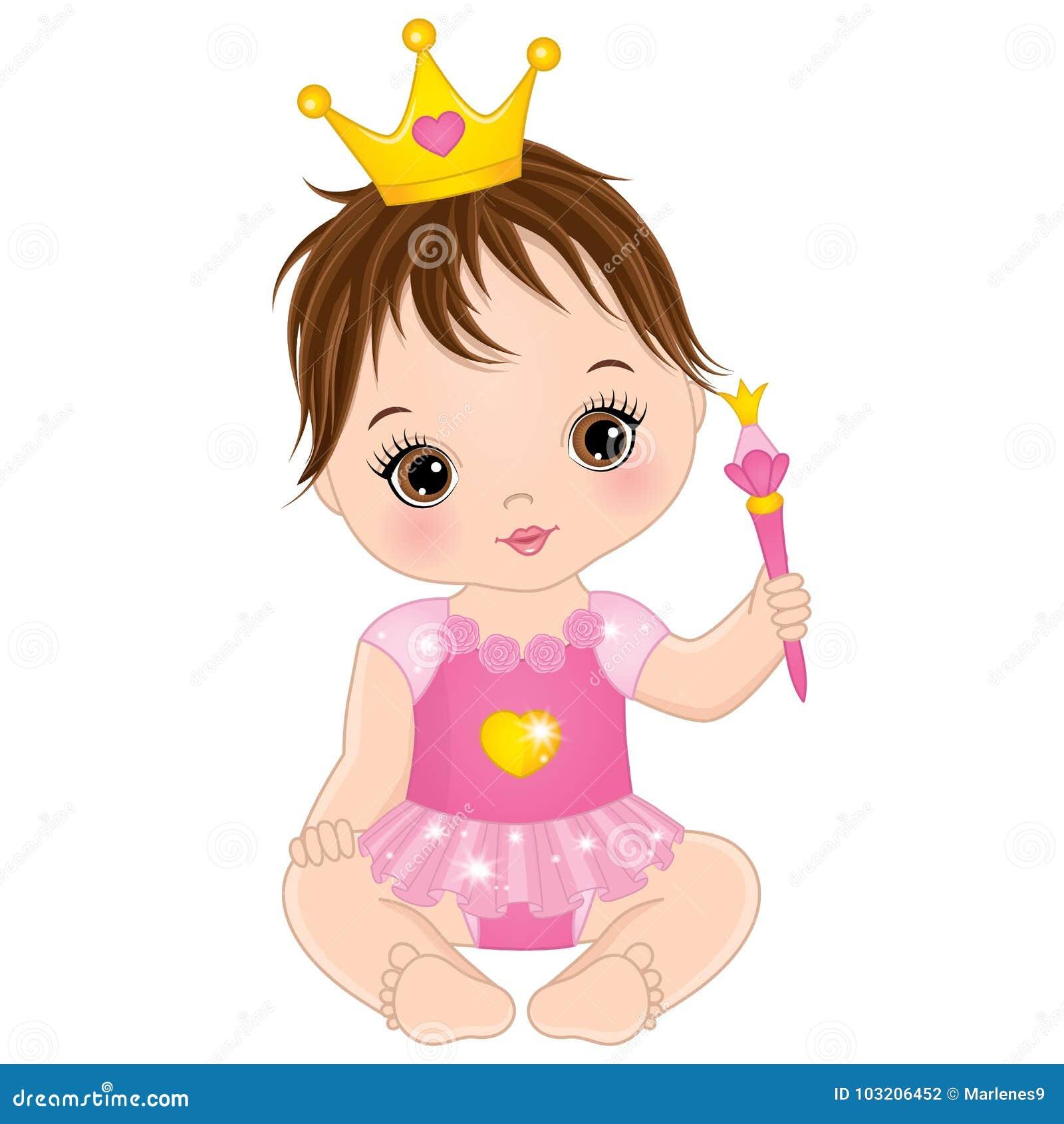 Neonata sveglia di vettore piccola vestita come principessa