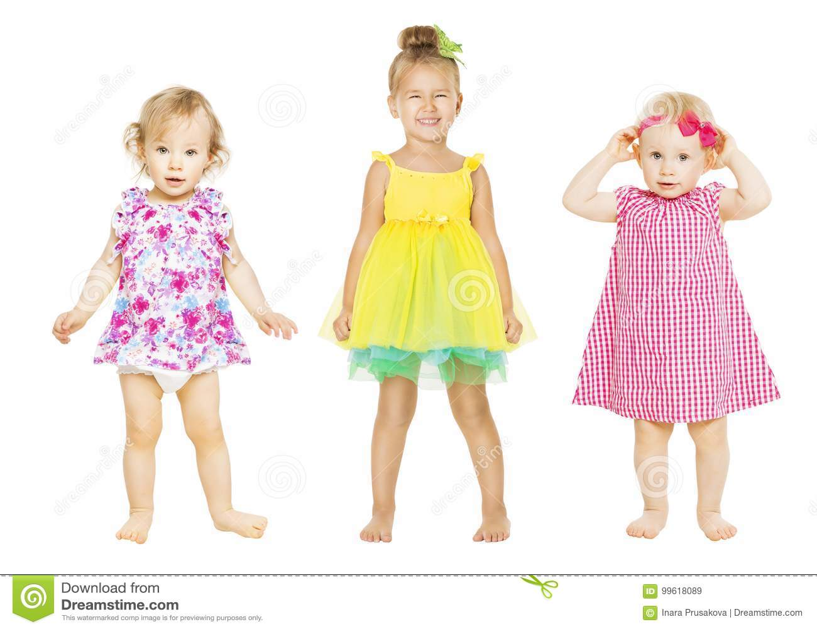 Neonate in vestito, bambini gruppo, bambini del bambino