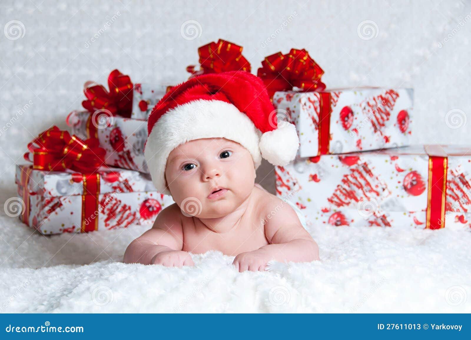 Foto Di Natale Neonati.Neonato Appena Nato Il Babbo Natale Con I Regali Di Natale