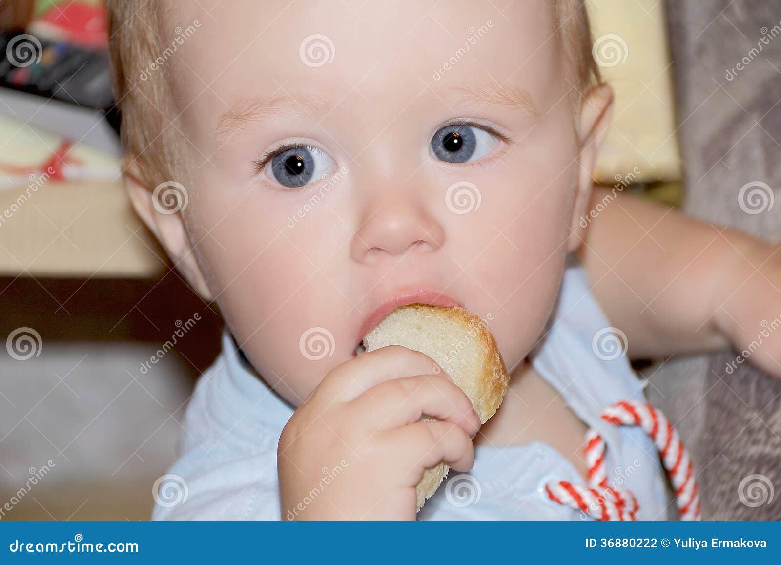 Download Neonato Sveglio Che Mangia Pane Fotografia Stock - Immagine di cute, pane: 36880222