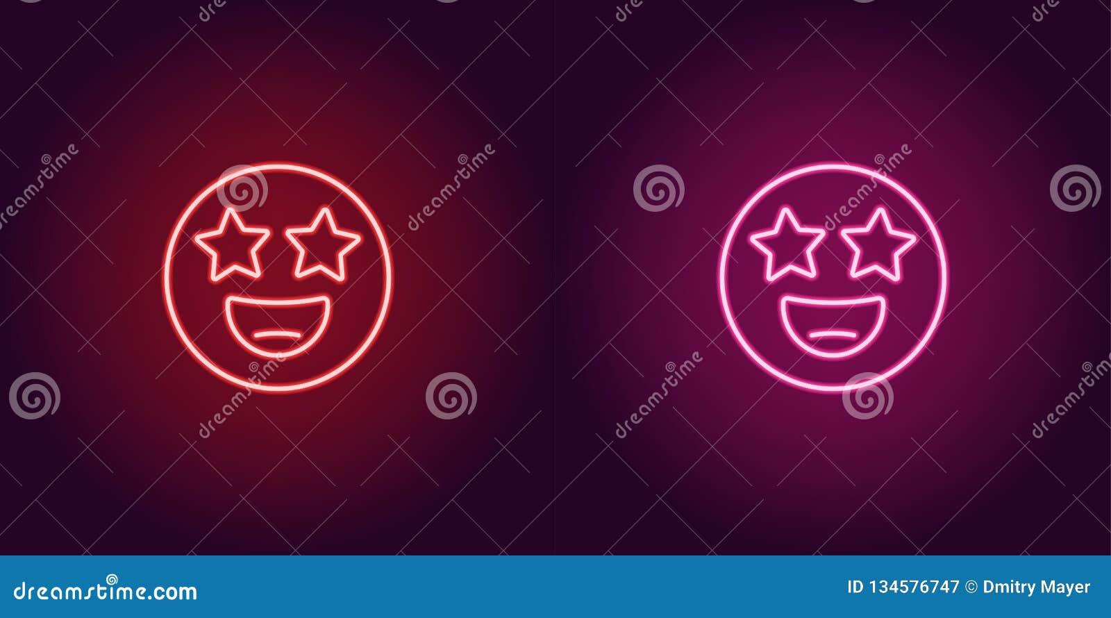Neonillustratie van ster geslagen emoji Vectorpictogram
