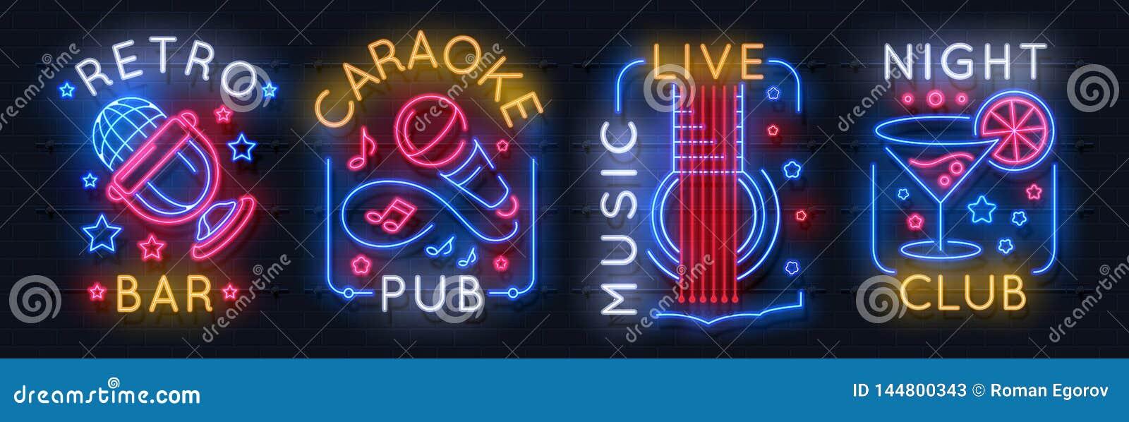 Neonmusiktecken Ljus logo för karaoke, solitt studioljusemblem, grafisk affisch för nattklubb Etikett för neon för vektormusi