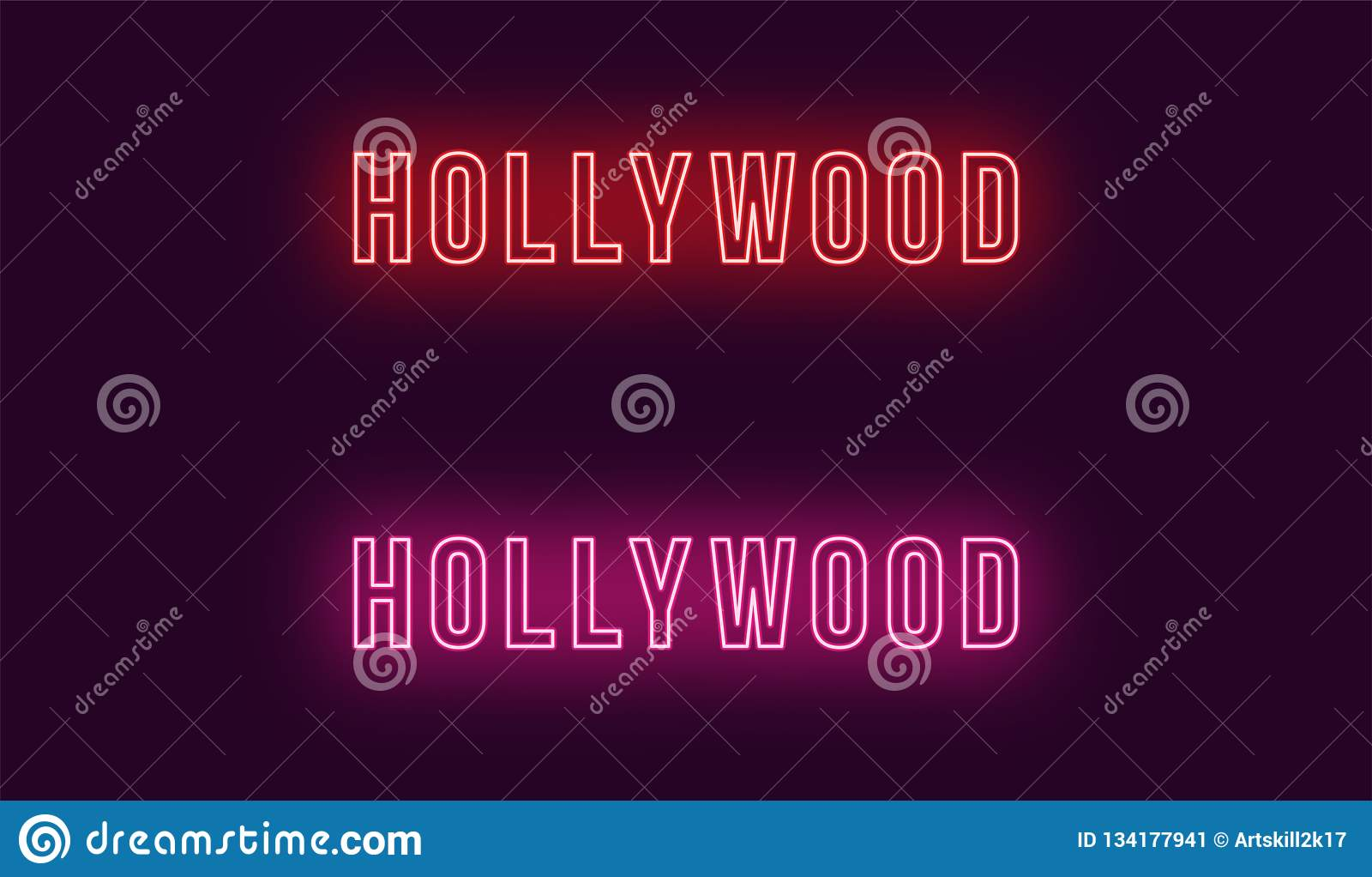 Neonnaam van Hollywood-district in Los Angeles