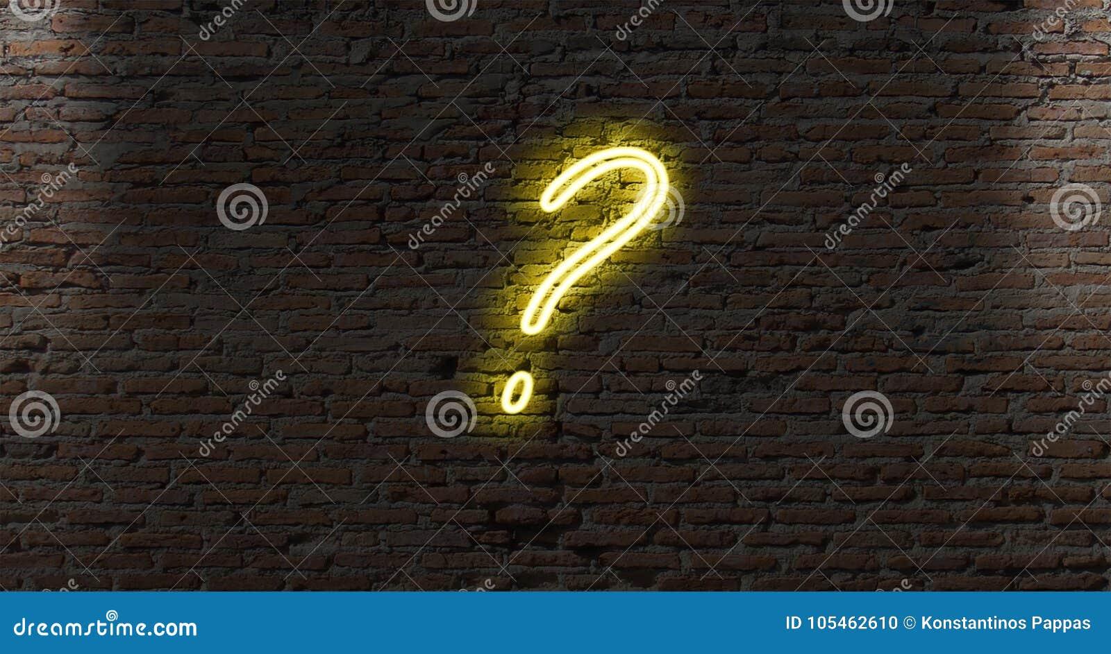 Neonowego światła znaki zapytania na ciemnym ściana z cegieł