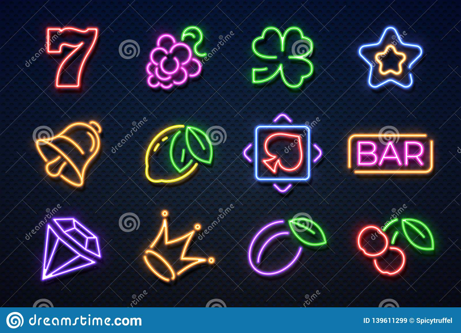 Neonowi kasyno znaki Szczelina uprawia hazard maszynę, karty do gry, wiśni i serc, hazard najwyższej wygrany maszyna Wektorowy ka