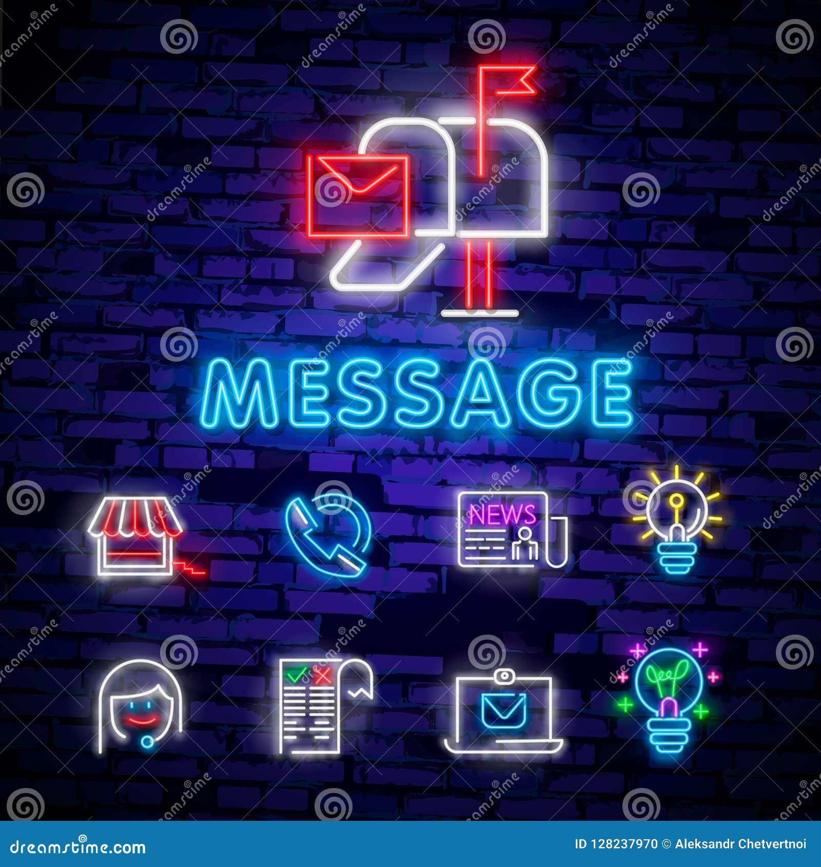Neonowy światło Poczta dostawy ikona Kopertowy symbol Wiadomość znak Poczta nawigaci guzik Rozjarzony graficzny projekt Ściana z