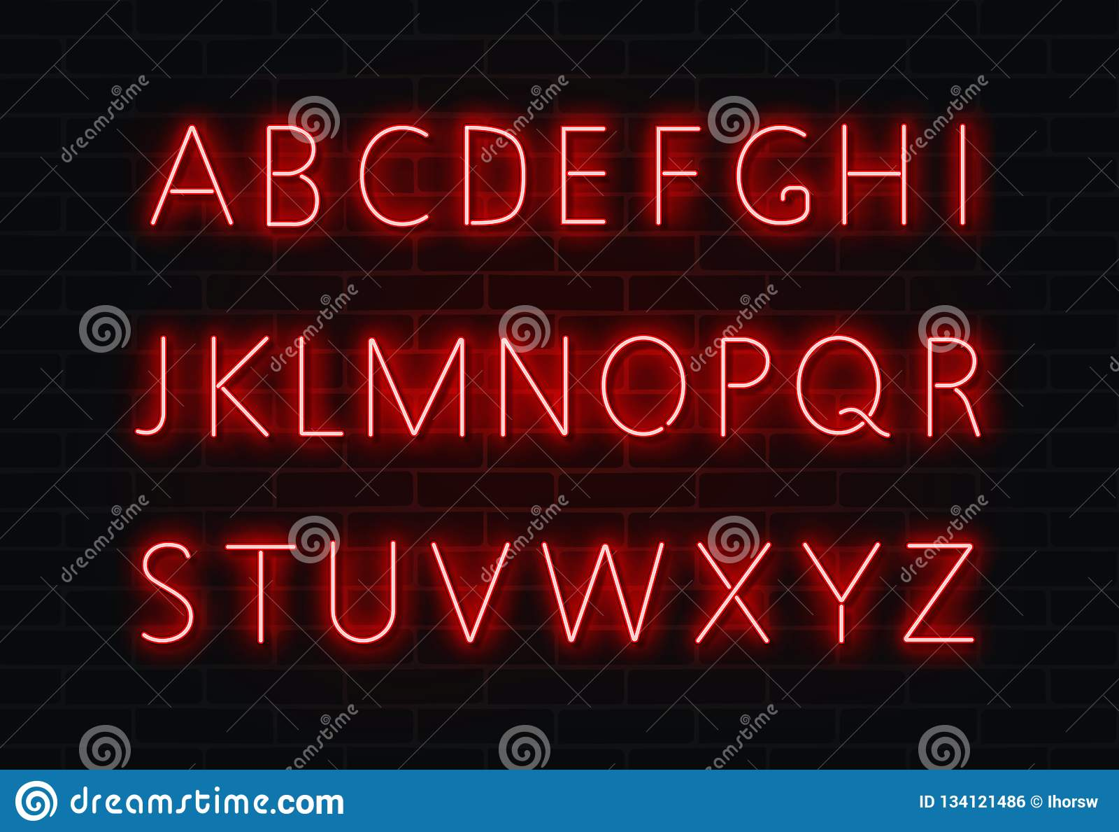 Neonowy chrzcielnica wektor Lekki abecadło teksta znaka set Rozjarzona nocy chrzcielnica dla baru, kasyno, przyjęcie czerwone ści