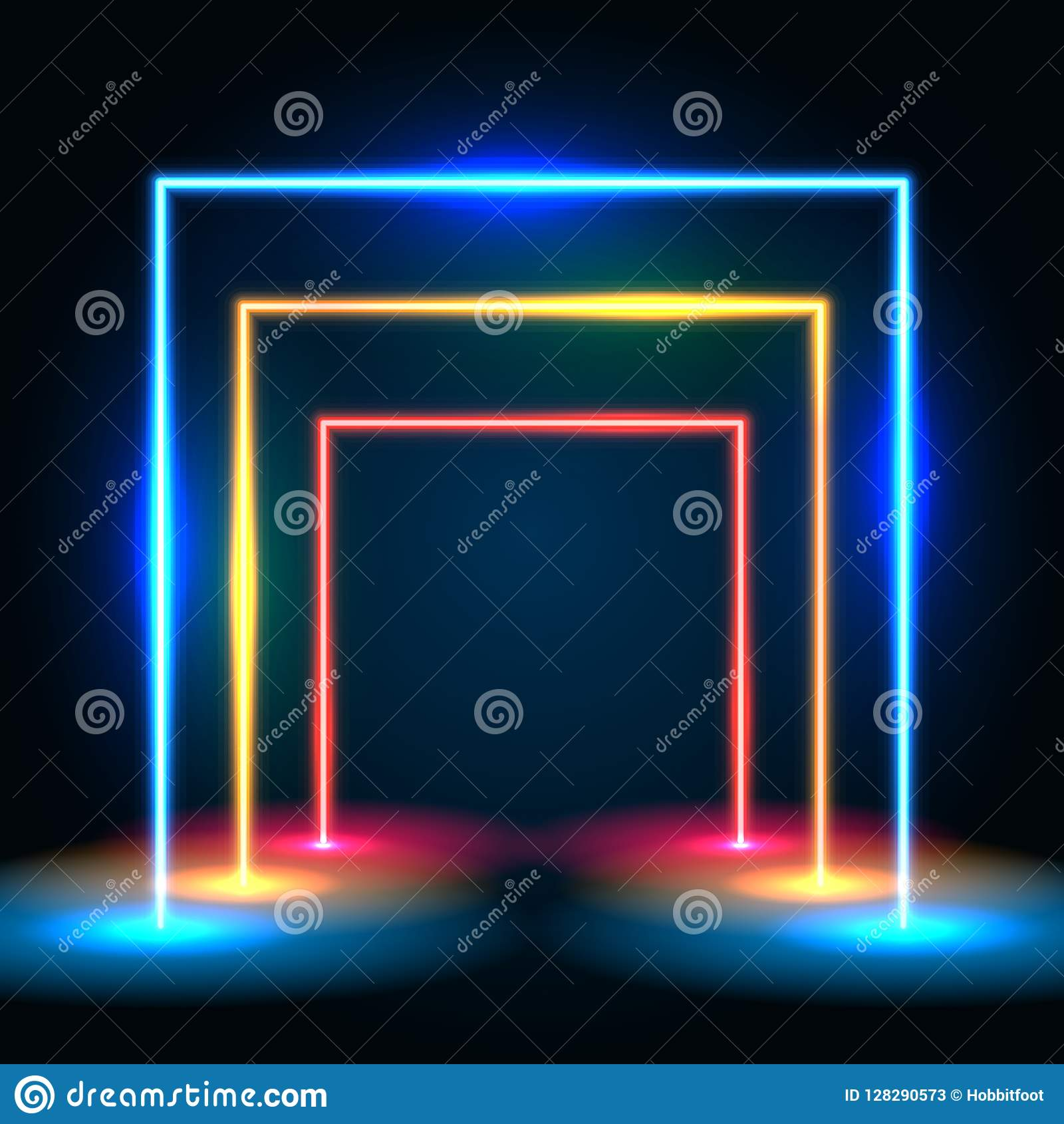 Neonowy jarzy się linii tunelowy abstrakcjonistyczny tło Kwadratowy wrotny pojęcie