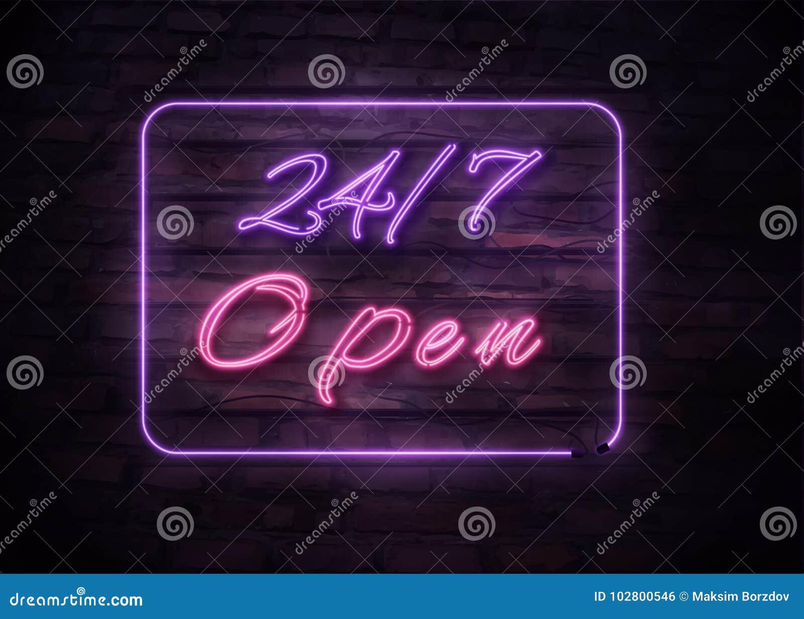 Neonowy Otwiera 24/7 znaków na ściana z cegieł tle