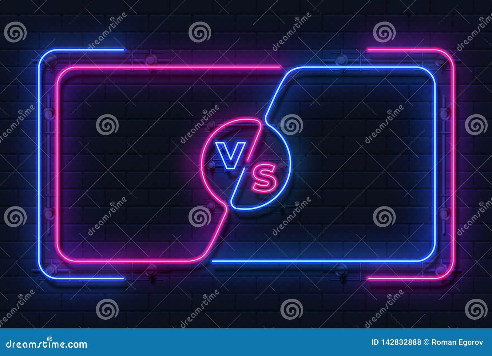 Neonowy versus sztandar Gry batalistyczna rozjarzona rama, bokserskiego dopasowania ekran, sport rywalizacji konturu pojęcie Wekt
