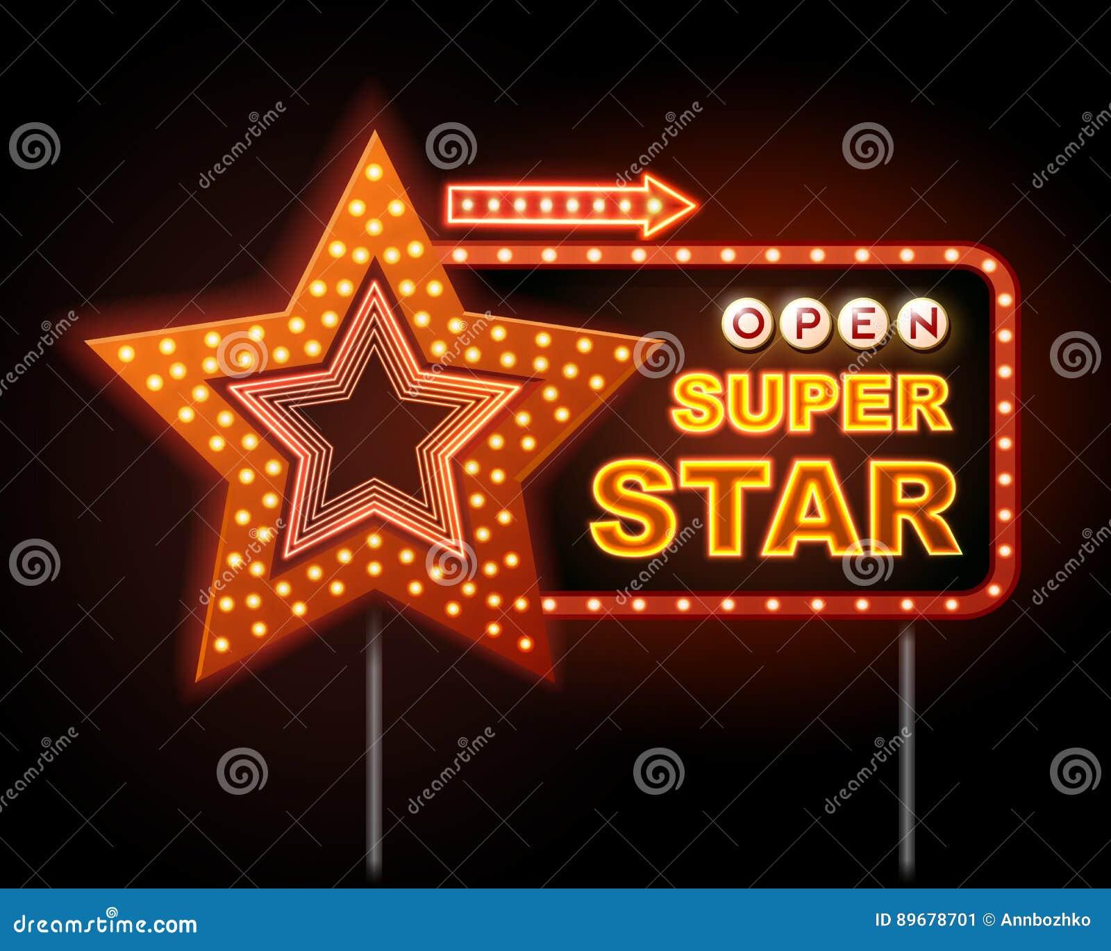 Neonowy znak dyskoteka gwiazdowego i neonowego teksta super gwiazda
