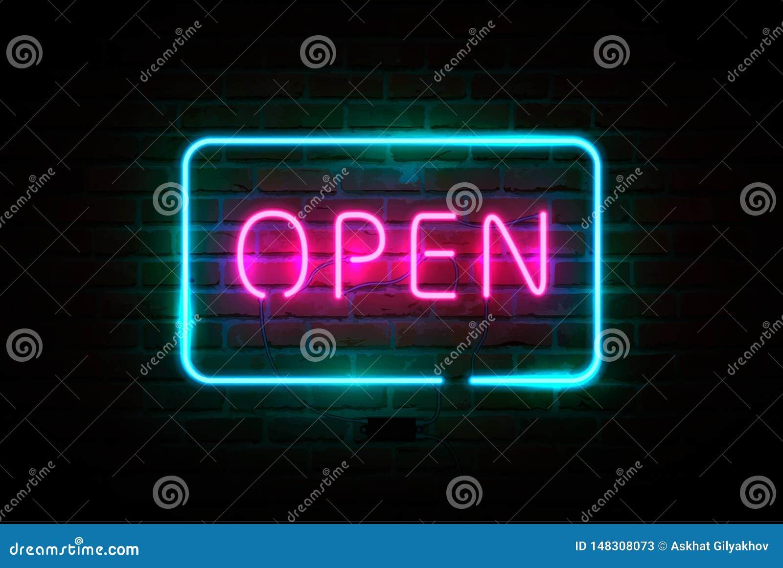 Neonowy znak OTWARTY, jaskrawy signboard, rozjarzony sztandar