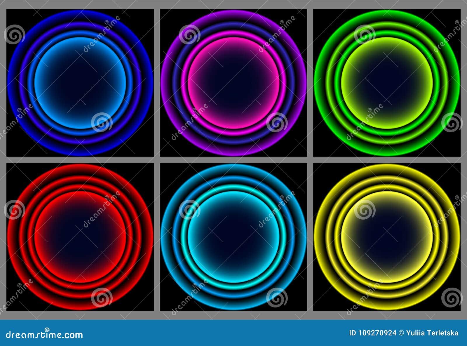 Neonrundaram Glänsande cirkelbaner också vektor för coreldrawillustration