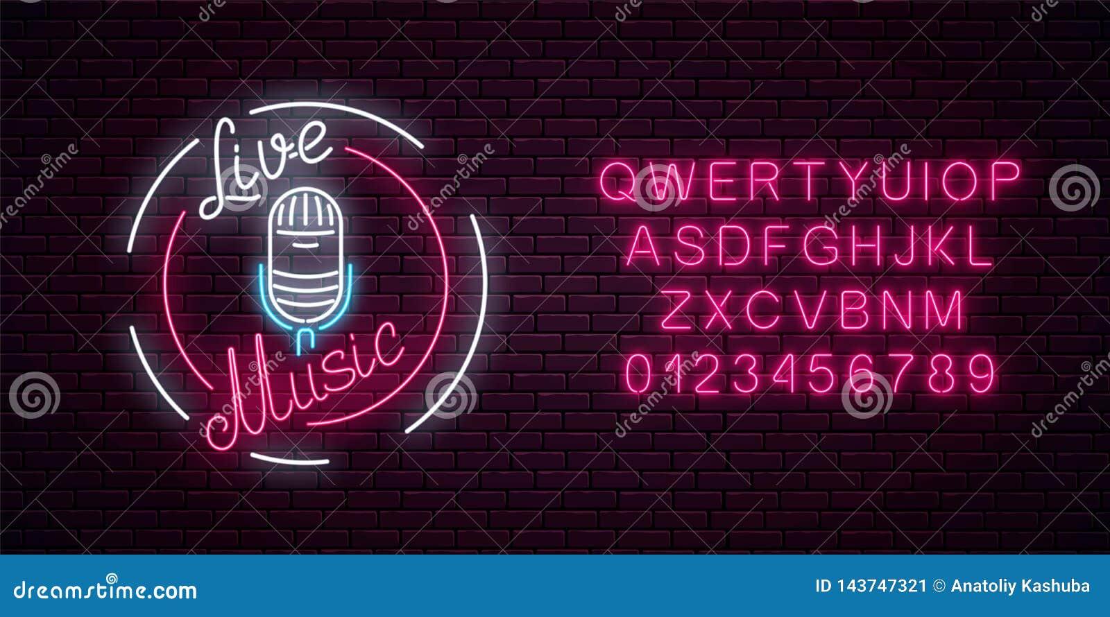 Neonskylt med mikrofonen i rund ram med alfabet Nattklubb med symbolen för levande musik