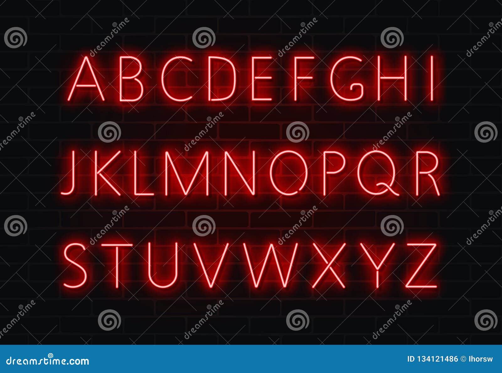 Neonstilsortsvektor Ljus uppsättning för alfabettexttecken Glödande nattstilsort för stången, kasino, parti röd vägg
