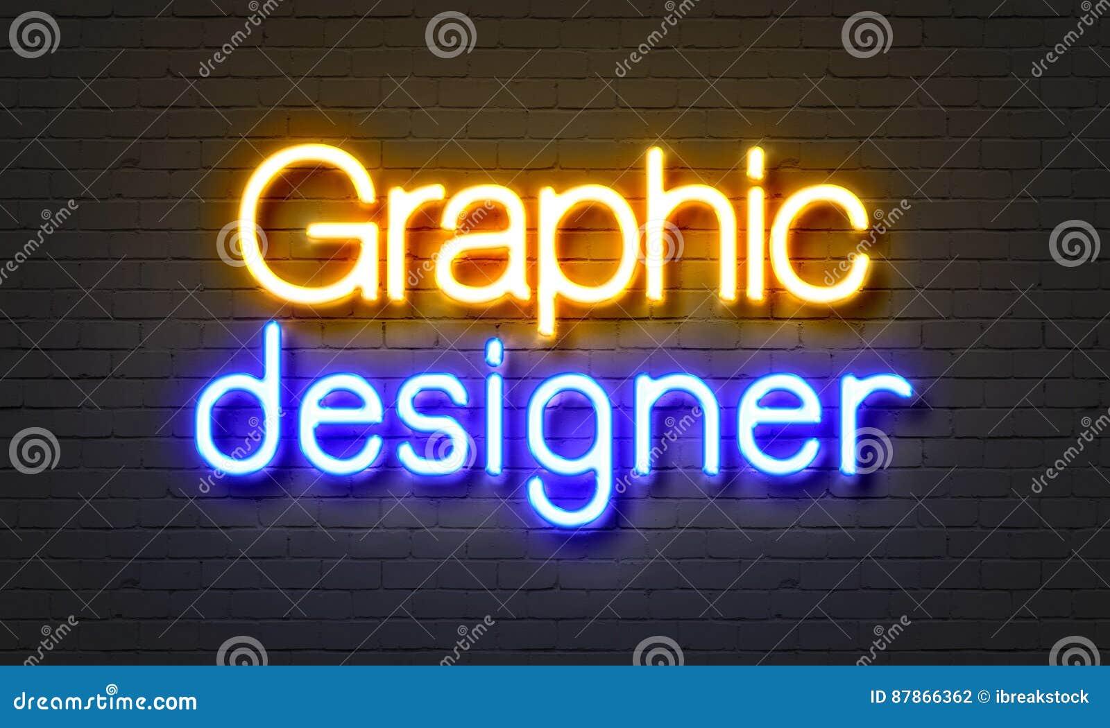 Neontecken för grafisk formgivare på bakgrund för tegelstenvägg